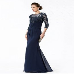 Wholesale Fast Deliver In Stock Bridesmaid Dresses Under Fashion Design Real Picture Professional Formal Gowns Vintage Navy Blue Chiffon Gown