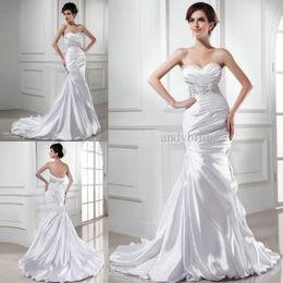 2015 mermaid wedding dresses sweetheart lace up ruffled court train beaded waist designers wedding dress garden beach wedding gowns 2015