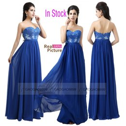 Wholesale In Stock Royal Blue Maid of Honor Dresses Sweetheart Lace Chiffon Plus Size Long Bridesmaid Bridal Party Evening Gowns Arabic Cheap