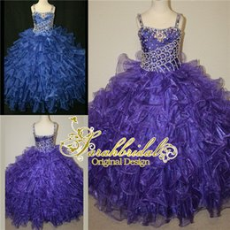 Wholesale 2015 Cheap Girls Pageant Dresses For Toddler Little Baby Girls Personalized Luxury Glitz Crystals Beaded Long Ball Prom Gowns Purple Blue