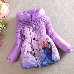 Wholesale New Arrival Winter Frozen Children s Down Coat Thickening Jirong Girl Long Cotton Padded Clothes Kids Down Jackets Outwear Fit Age eck126