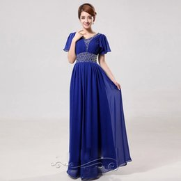Wholesale 2014 New Arrival V Collar Diamond Party Dresses Sequin Bridal Toast Clothing Slim Evening Dresses Special Occasion Dresses Royal Blue Rose R