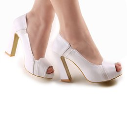 Wholesale New Style inch High Heels Bride Wedding Shoes Lady Formal Dress Shoes Performances Prom Shoes DY2049 White
