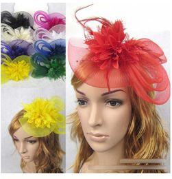 Wholesale 10pcs Hot Colors Floral Hair Button Feather Rabbit Ear Tulle Gauze Laze Headband Bridal Hairwear Bride Wedding Accessories B0116