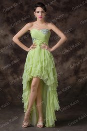 Wholesale Grace Karin Spring New Sexy Strapless High Low Chiffon Graduation Beaded Prom Party Homecoming Dresses CL6287