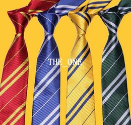 Wholesale magic movie harry potter tie Unisex School neckwear Gryffindor Slytherin Ravenclaw Hufflepuff Costume mens striped ties