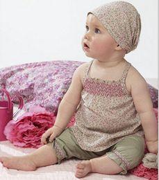 Wholesale Baby Girls Clothing Set Summer Flower Print Clothes Set Headband Vest Pant Set Baby Summer Clothing