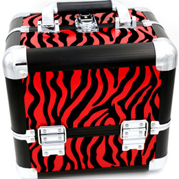 Wholesale Cosmetic Case Makeup Train Case Containers For Cosmetic Organizer Bags Women Tote Bag Make Up Organizer Multifunctional Red zebra