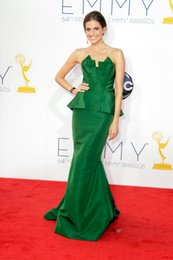 Wholesale Allison Williams In Green Mermaid Celebrity Dresses Peplum Strapless Sweep Train Satin Evening Gowns Prom Dress