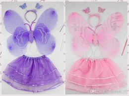 Wholesale 2015 New Kid Girls Angel Wings Costume Fairy Butterfly Wing Set Wand Headband Colors Assorted Halloween butterfly show LJJH131