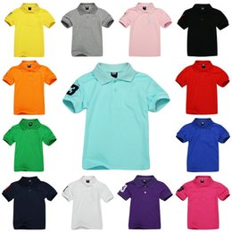 Wholesale Kids White Polo School Shirts Children Summer Cotton Short Sleeve Yellow Blue Red Pink Color Four Big Size For Year Boys Girls