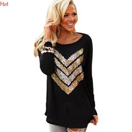 Wholesale New Women Casual T Shirt Sequin Camisas Loose Basic Long Sleeve T Shirts O Neck Black Tops Tees Punk Woman Clothing Autumn Hot SV028443
