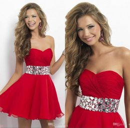 Wholesale 2014 Hot Sale Short Homecoming Dresses Sweetheart Prom and Party Gowns STOCK Size Beaded Evening Gowns MG