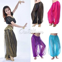 Wholesale New Shining Sequin Belly Dance Costume Chiffon Balloon Bloomers Trousers Indian Dance Pants DLK LP