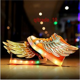 Wholesale 2 BBA5443 Children s LED Lighted Shoes kids Hip hop Fashion Sneakers Boots baby luminous wings shoes shine flash shoes Sports shoes sneakers