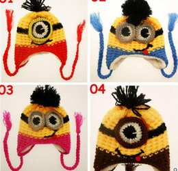 Wholesale 100pcs color kids minions Crochet beanie knits handmade beanies baby Despicable Me beanies caps hats christmas halloween gift