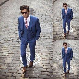 Wholesale Handsome dark blue custom made wedding suits for men Groom Groomsmen Tuxedos men wedding suits Jacket Pant Vest Tie men wedding dress