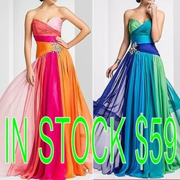 Wholesale In Stock Red Blue Prom Evening Dresses A Line Sweetheart Beaded Lace up Back Occasion Dress Long Formal Pageant Party Gowns Sweep Train