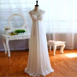 Wholesale Real Image Custom Made Beach Backless Empire Wedding Dress For Woman Chiffon Lace Capped Sleeves Floor Length Custom Made Bridal Gowns