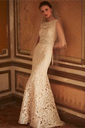 Wholesale Bhldn Beach Wedding Dresses Sheath Lace Backless Bridal Gowns with High Neckline and V Back Sweep Train and Beaded Sash