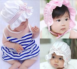 Wholesale Plumblossom new arrival Korean New Arrive cap lovely infant flower bowknot caps hat baby sun hat baby bucket hats child hat