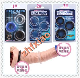 Wholesale 3 Stretch Jelly Donut Cock Penis Rings Rubber Triple Prolong Stamina Cockring Beaded Elastomer Long Lasting Delay Erection Enhancer Sex Aid