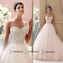 Wholesale 2015 New Ball Gown Wedding Dresses Bridal Gown With Princess Full Beaded Crystal Top Sweet heart Ivory Tulle Sweep Train Custom Made Pretty
