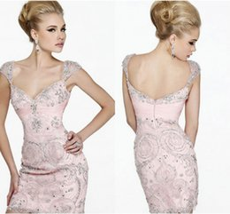 Wholesale New Short Dresses Sexy Fashion Bling Crystal Backless Custom Made Sheath Beaded Cocktail Party Dresses Short Prom Homecoming Dresses