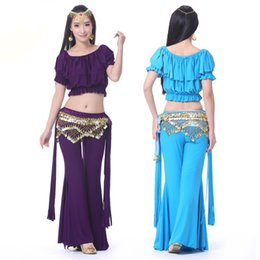 Wholesale Costumes For Tribal Belly Dance Set Top Pants Hip Scarf Danca Do Ventre Lady Professional Belly Dancing Clothes Indian Dress DQ1025