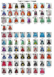 Wholesale 55 styles super hero cape mask set L70 W70cm double side Captain cloak batman superman cape mask Superhero Cape supergirl cape mask set