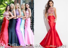 Wholesale 2016 Rachel Allan Two Pieces Prom Dresses Charming Red Sparkly Mermaid High Neck Beaded Backless Prom Dress Aqua Satin Yellow Formal Dresses