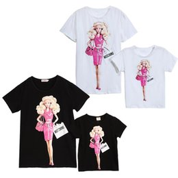 Wholesale family clothing cute cartoon printed mother daughter Barbie t shirt family tops cartoon mother and designer tops short sleeve tee LD378