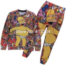 Wholesale Mikeal Cartoon tracksuits for men women d joggers sweatshirt suit cute Animation print casual hoodies d pant Z35