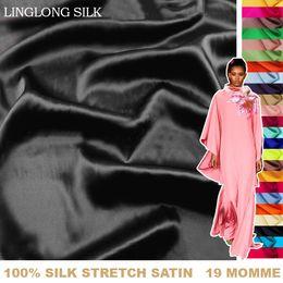Wholesale Silk stretch satin m m Width cm Mulberry silk fabric Lycra Classic black while fabrics Meters
