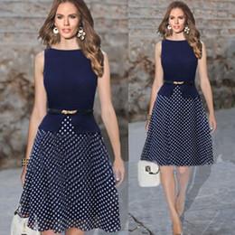 Wholesale Summer Women Clothes New Retro Navy plus size Women Dress Sleeveless O Neck Polka Dot Tunic Knee Length Dress with Belt Size