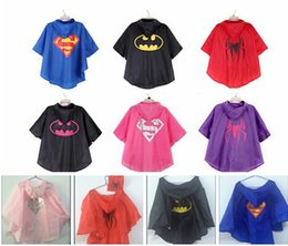Wholesale 2015 new design Rain Coat superman batman spiderman superhero kids waterproof Rain Coat children Raincoat