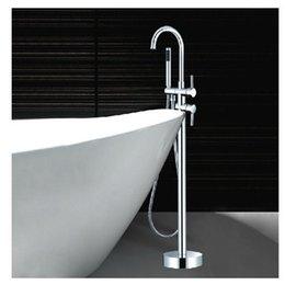 Vente en gros et au détail de luxe Clawfoot robinet de baignoire monté au sol baignoire Robinet mélangeur de remplissage avec douche main