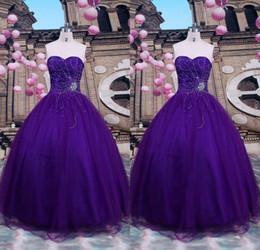 Wholesale Imágenes reales Purple Vestidos de quinceañera Sexy corsé de novia con cuentas de tul dulce Adolescentes Prom Desfile Vestidos por encargo Debutante Wear