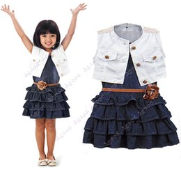 Wholesale 2015 New Fashion Baby Girls Kids Outfit Clothes Coat Dress Piece Set with Belt SV001188