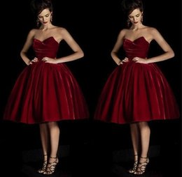 Wholesale new arrival red Pageant dress with sweetheart velvet fabric waist skirt on the skirt cheap autumn winter cocktail homecoming dresses