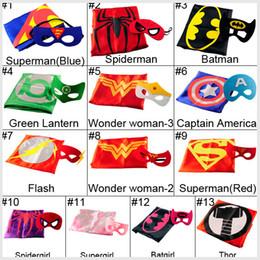 Wholesale 2pcs Set Superhero Cape Mask L70 W70CM Double Side batman superman cape mask Reversible Superhero Cape supergirl cape mask set