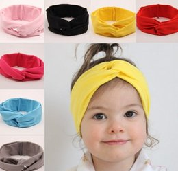 Wholesale Hot Baby Hairband European Babies Hair Band Fashion Infant Girls Cute Cross Elastic Cloth Hairbands Children Accessories I4257
