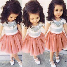 Wholesale In stock Mid March Kids Girls Short Sleeve Dresses Children Stripe Tulle Princess Party Dress Childs Lovely Tutu Lace Gauze Dressy H2968