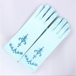 Wholesale Frozen Elsa Anna Princess Gloves Baby Girls Color Gloves Kids Cartoon Silk Fabric Gloves Children Fashion Gloves fex
