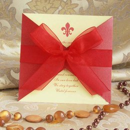Wholesale 2016 New fashion European Cards Korean style Wedding Invitation with ribbon bow elegant color wedding supplies creative Personality