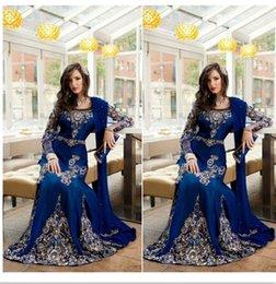 Wholesale 2016 Arabic Muslim Formal Evening Dresses Royal Blue Crystal Appliqued Abaya Dubai Kaftan Long Prom Party Gowns BA0718
