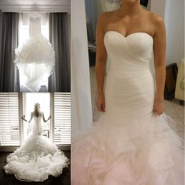 Wholesale 2016 Classic Pleats Wedding Dresses Sweetheart Cascading Ruffles Mermaid Bridal Gowns Vestidos De Novia Mildred Court Train Free Bow Veil