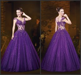 Wholesale Lace Prom Party Dresses KR Sheer Illusion Scoop Neckline Cap Sleeves Formal Gowns Beaded Appliques Center Debutantes Evening Dress