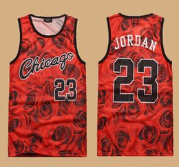 Wholesale 2015 New Fashion sleeveless men s D print rose floral Chicago tank top vest Jordan basketball vest CASUAL jersey shirt plus size