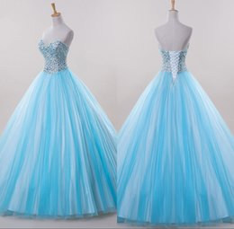 Wholesale Princesa de lujo azul Vestidos de quinceañera con cuentas de cristal brillantes del vestido de bola del dulce del vestido de encaje de la espalda Vestidos Debutante